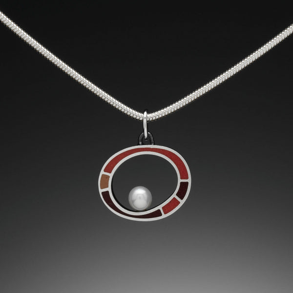 Floating Pearl Necklace (red) - Kinzig Design Studios