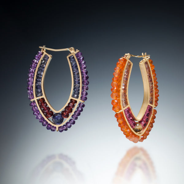 Gemstone Double Hoop Earrings (gold) - Kinzig Design Studios