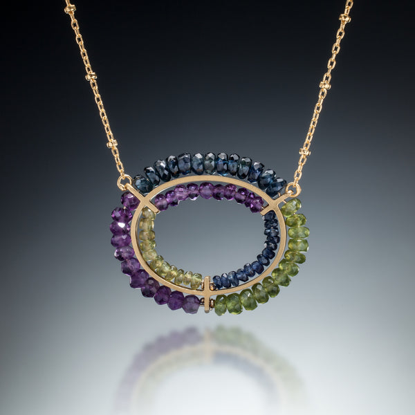 Gemstone Double Circle Necklace (gold blue) - Kinzig Design Studios