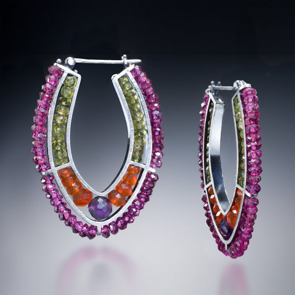 Gemstone Double Hoop (purple) - Kinzig Design Studios