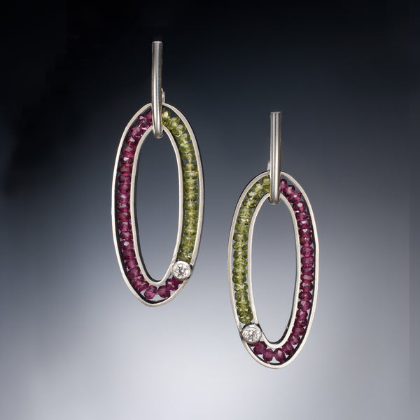 Gemstone Oval Earring (purple) - Kinzig Design Studios