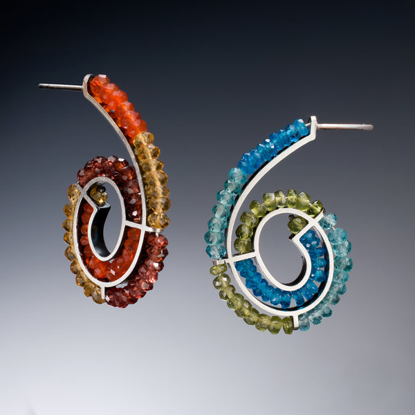 Gemstone Spiral Earrings - Kinzig Design Studios