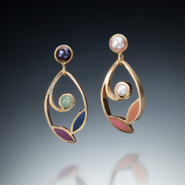 Leaf and Pearl Earrings (gold) - Kinzig Design Studios