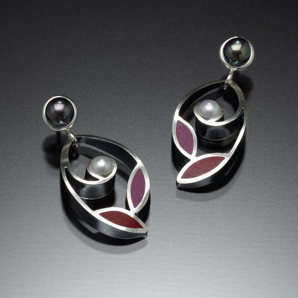 Leaf and Pearl Earrings (red) - Kinzig Design Studios