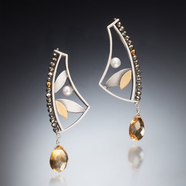 Mixed Metal Earrings with Drop - Kinzig Design Studios