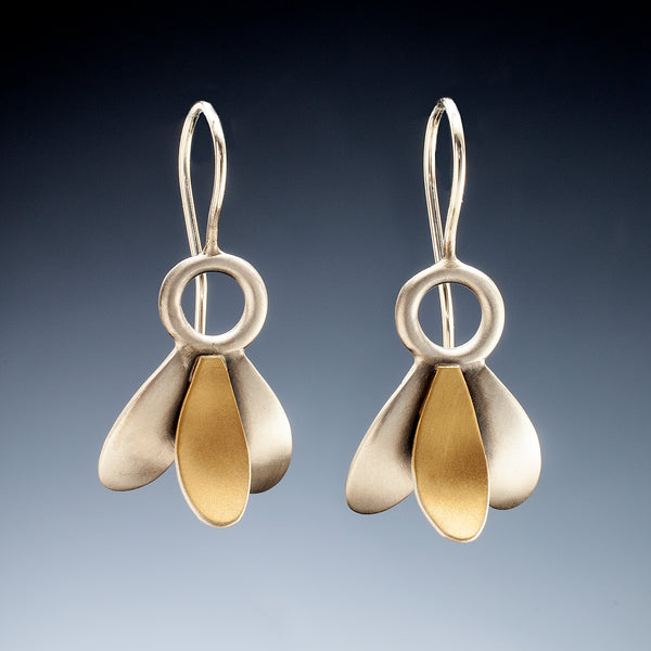 Mixed Metal 3 Leaf Earrings - Kinzig Design Studios