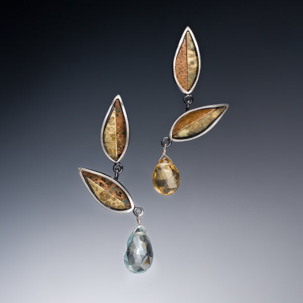 Mosaic Leaf Earrings - Kinzig Design Studios