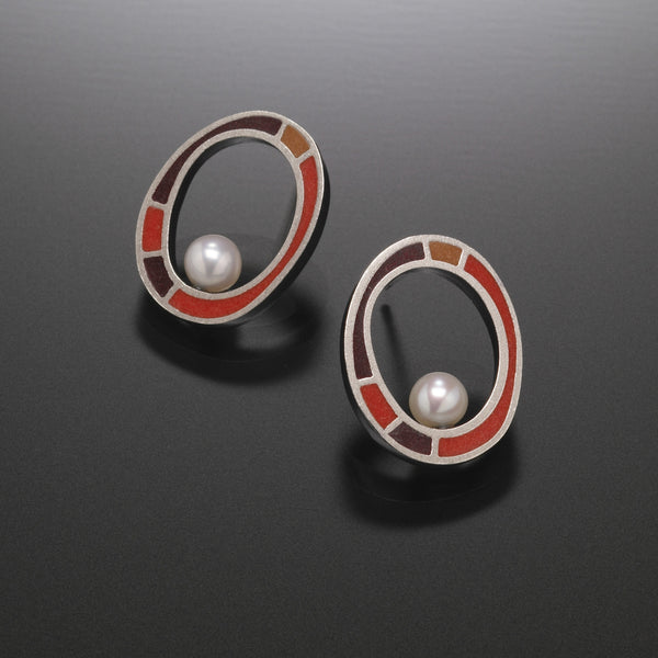 Oval Earrings with Pearl (red) - Kinzig Design Studios