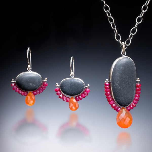 Ruby Rock Earrings and Necklace - Kinzig Design Studios