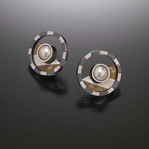 Striped Circle Earrings - Kinzig Design Studios