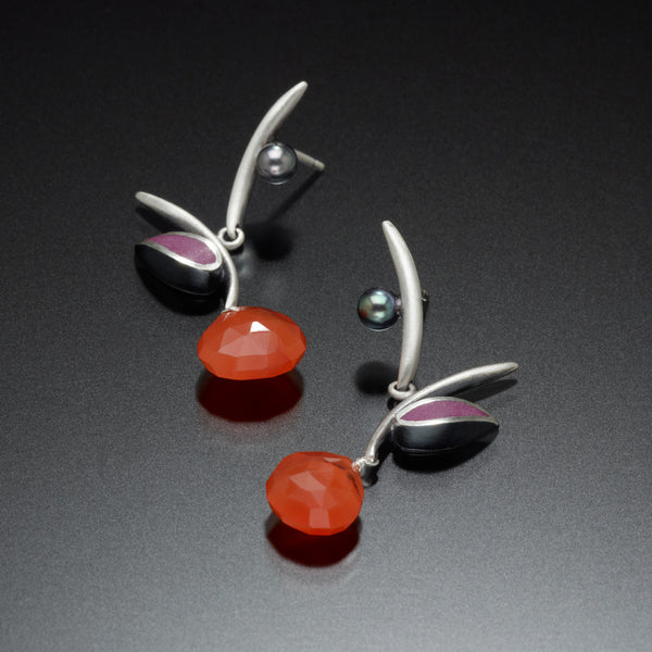 Twig Earrings (orange) - Kinzig Design Studios