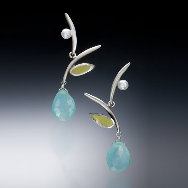 Twig Earrings (blue) - Kinzig Design Studios