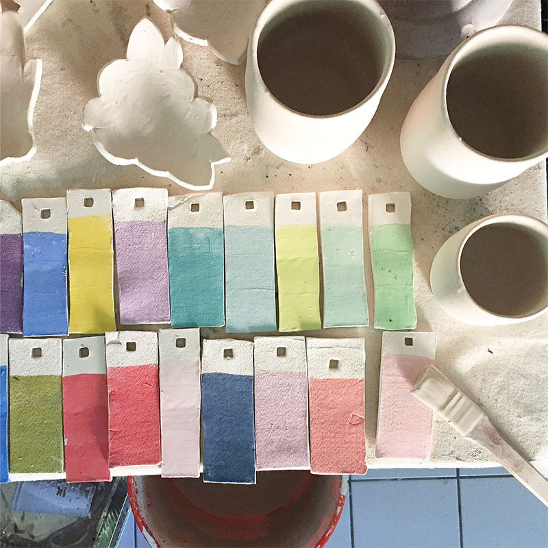 1canoe2 pottery underglaze swatches ceramic studio