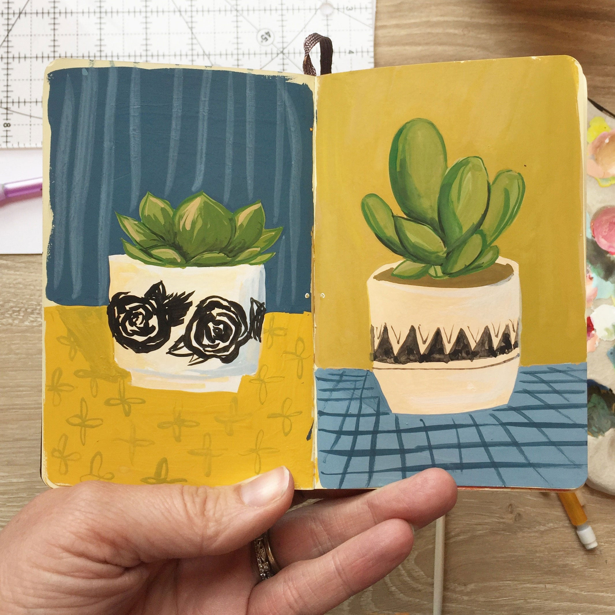 1canoe2 pottery painting illustration of succulent planter sketch studio