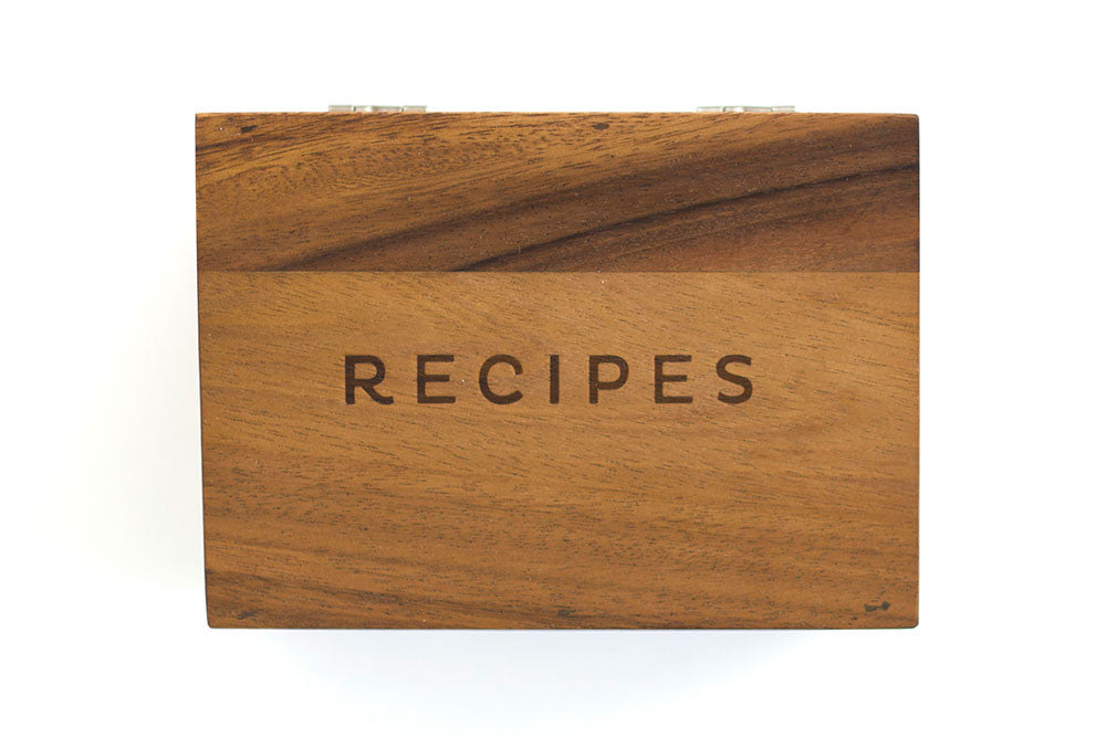 Recipe box with lid box only 1canoe2 acacia wood recipe box thecheapjerseys Image collections