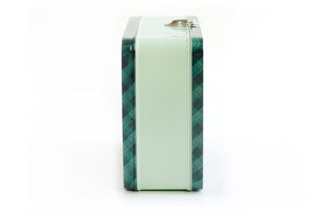 Green Gingham Large Tin Box
