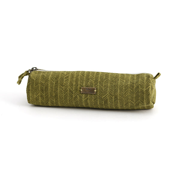 Olive Herringbone Pencil Pouch