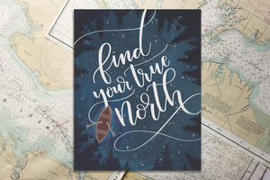 True North Canoe Art Print
