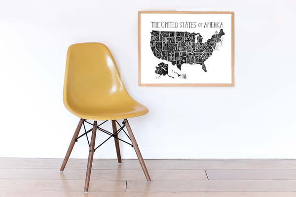 United States of America Black and White Print