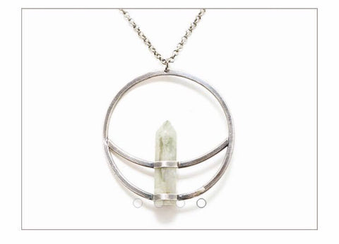 Crescent + Circle Pendant // Green Quartz