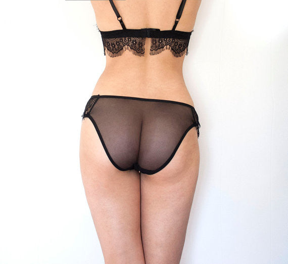 Sheer Romantic Lace Panties with Eyelash Lace Inserts