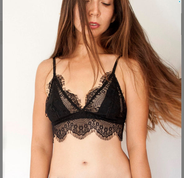 eyelash lace black bralette