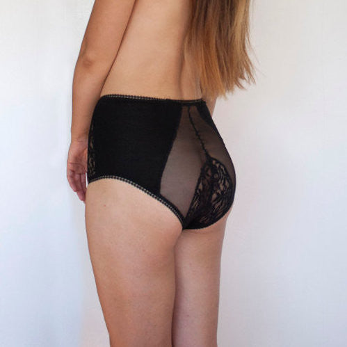 Vintage inspired High Waisted Lace Black Panties with Mesh Inserts Full cut