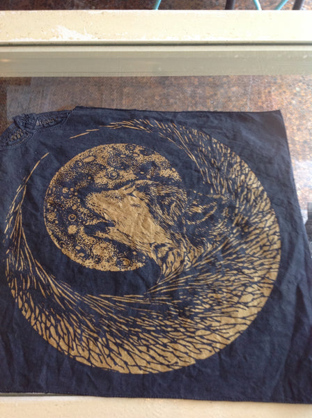 Lunar Wolf screenprinted linen with lace accent