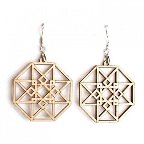 Hypercube earrings (green)