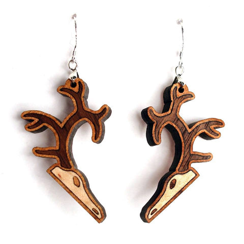Deerings inlaid wood totem earrings