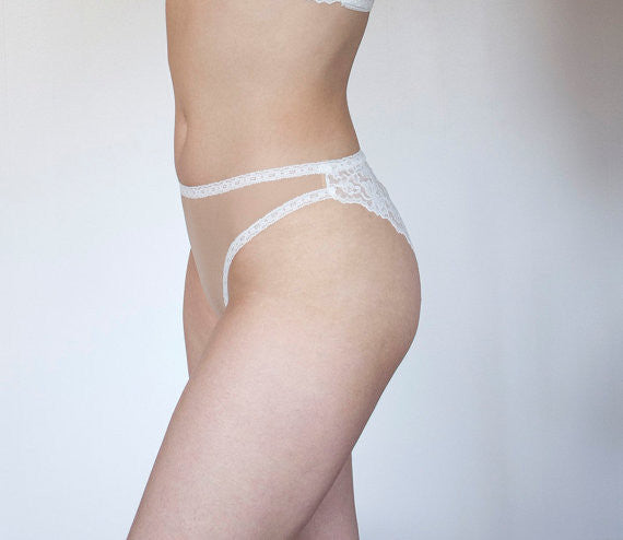 Morning Light Panties with Ivory Lace Back and High Leg Cut
