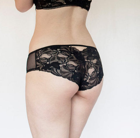 Romantic, Lacy Sheer Black Tulle Panties with Scalloped Edge