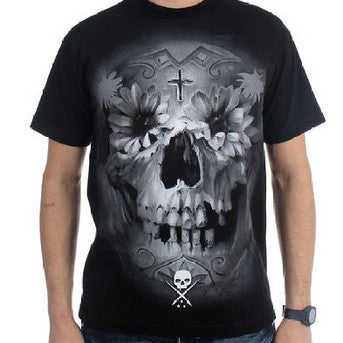 Black Flower Skull T shirt