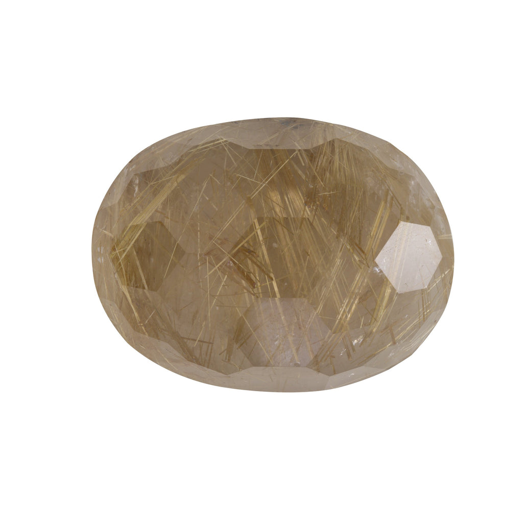 SDG-RQ: Faceted Oval Rutilated Quartz Gemstone