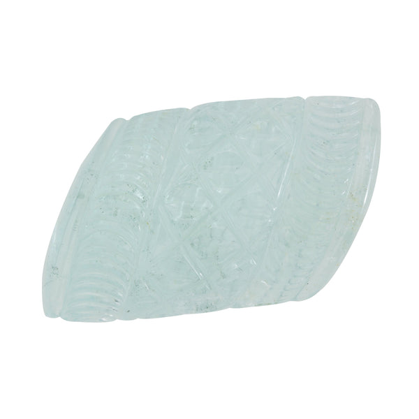 SDG-AQ107: Carved Pattern Aquamarine Gemstone
