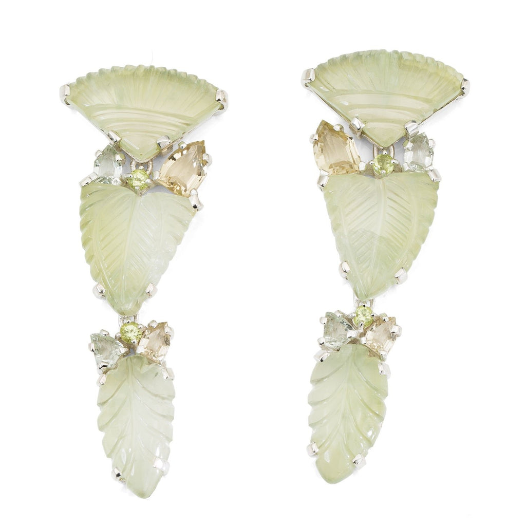 OAK-37131: Peridot, Prehnite and Green Amethyst Leaf Earrings