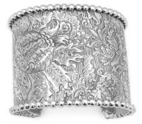 Stephen Dweck Sterling Silver Engraved Signature Carving Cuff