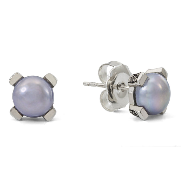 1-EAR-6941: Silver Pearl Engraved Flower Earring, 8 mm