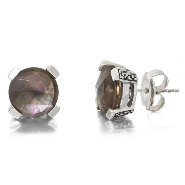 2-EAR-6980: Smoky Quartz Stud Earring, 12 mm