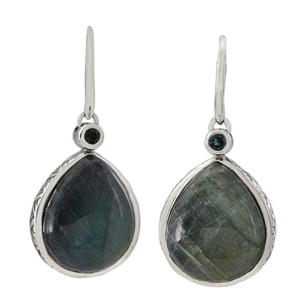 Labradorite, Hematite Drop Earring with London Blue Topaz
