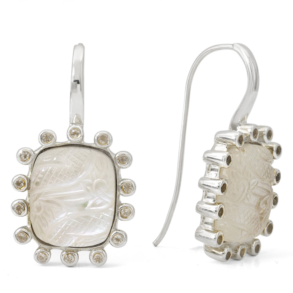 EAR-7036: Etched Flower Crystal Quartz, White Mother of Pearl, White Agate Earrings