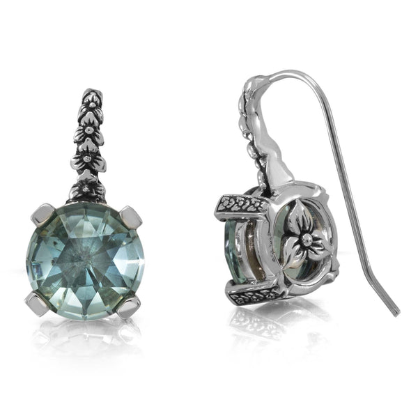 Aqua Quartz Flower Hook Earring