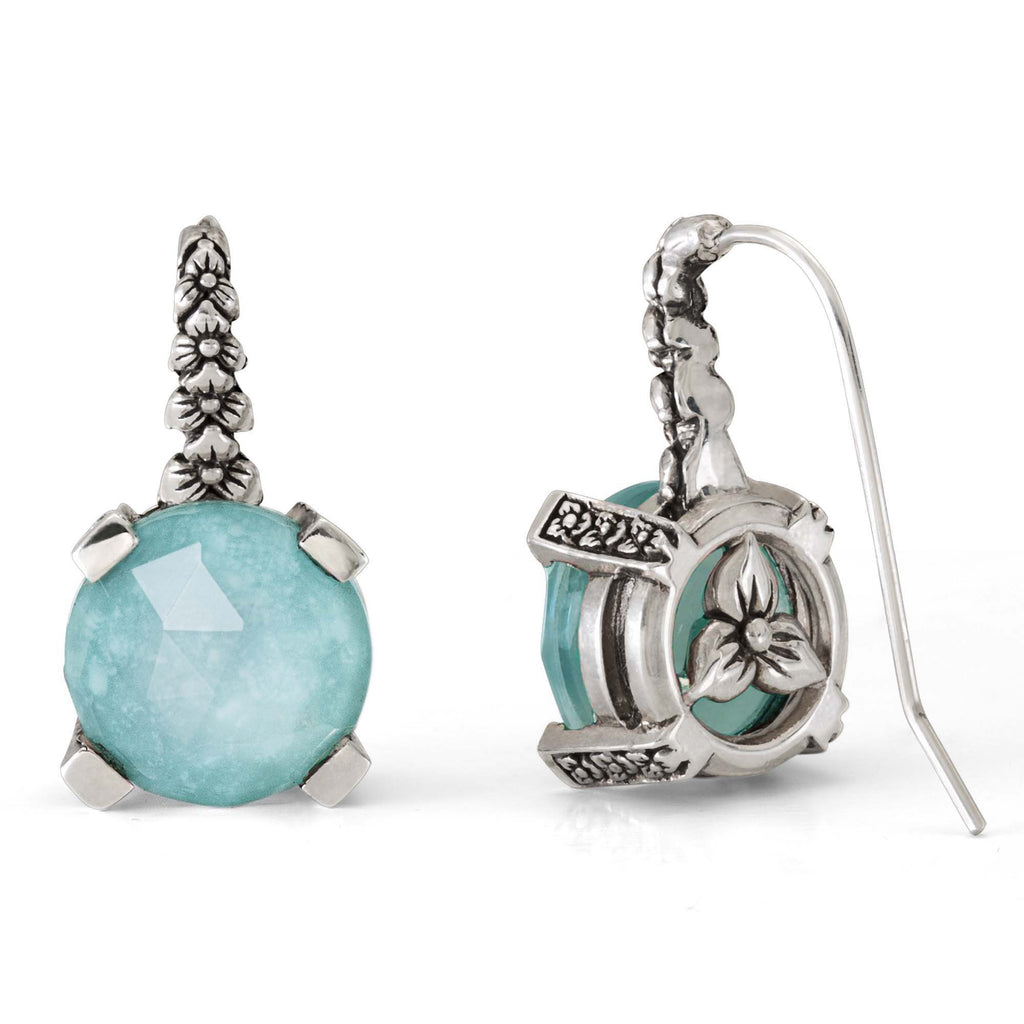 Turquoise and Crystal Quartz Flower Hook Earring