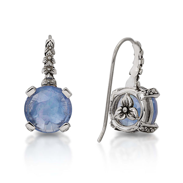 EAR-7138: Crystal Quartz, White Mother of Pearl, Dark Blue Quartz Hook Earrings