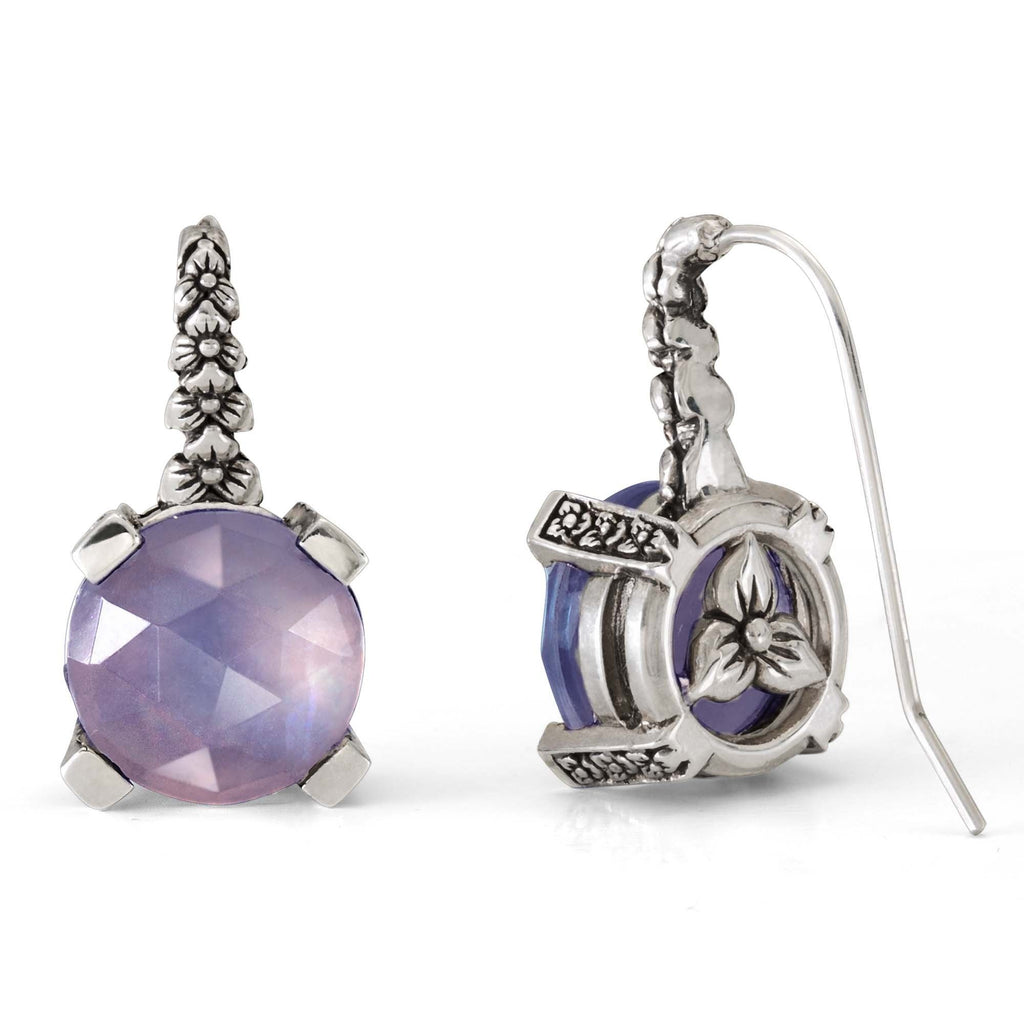 EAR-7154: Dark Blue Quartz, MOP and Amethyst Quartz Hook Earring
