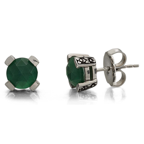 Green Agate Stud Earring, 8 mm