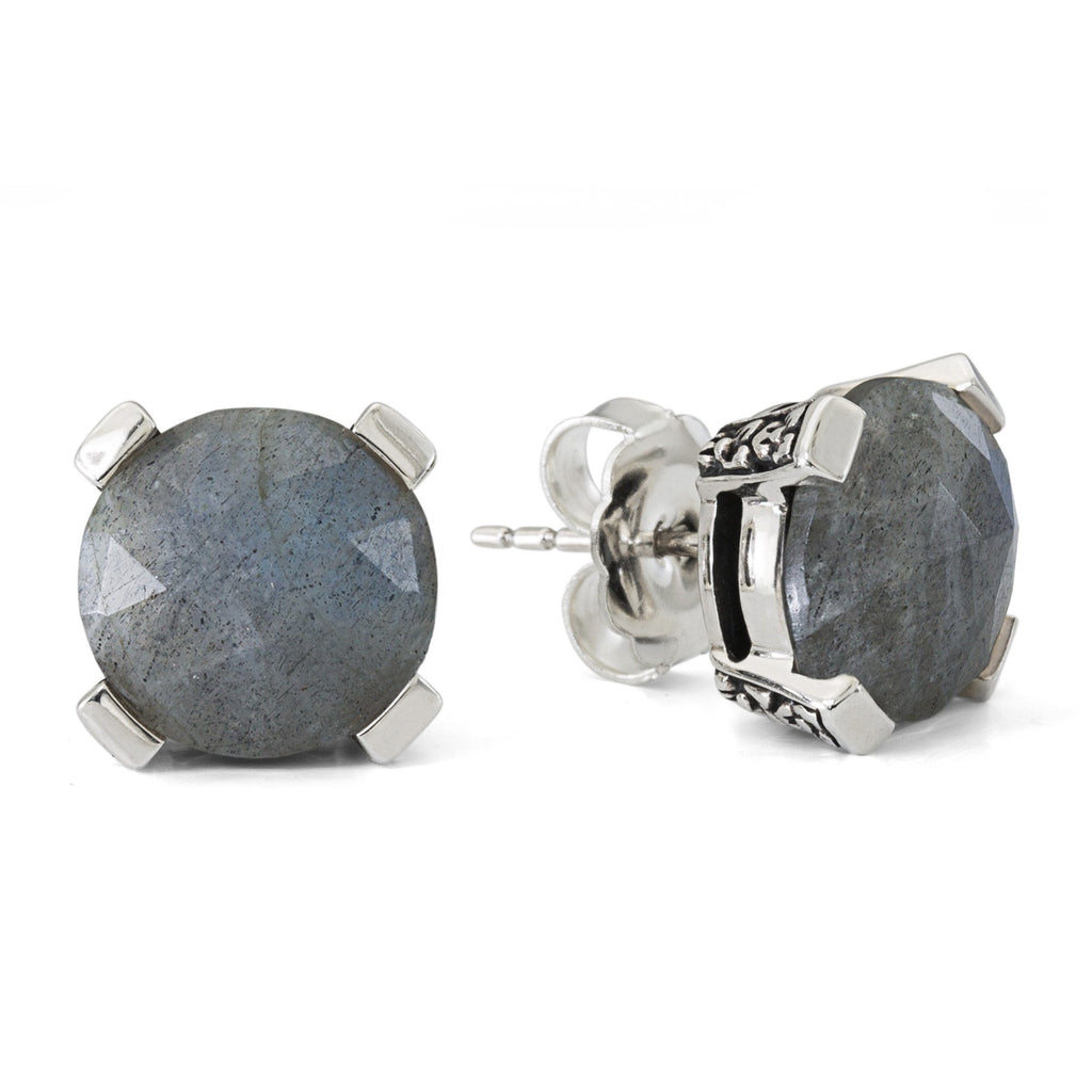 Labradorite Gemstone Stud Earring, 12 mm