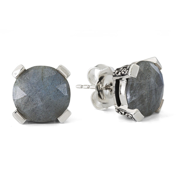 2-EAR-7188: Labradorite Gemstone Stud Earring, 12 mm
