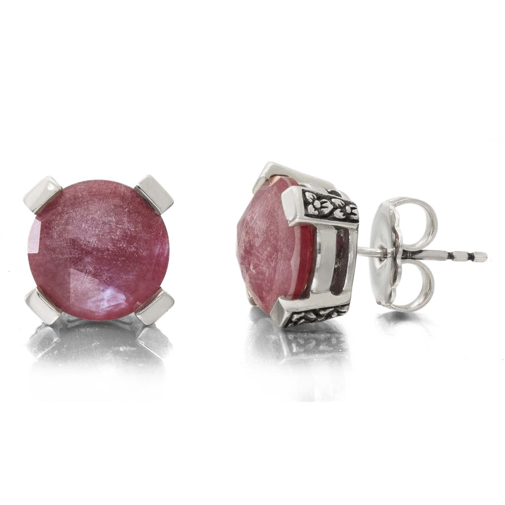 Red Quartz Stud Earring, 12 mm