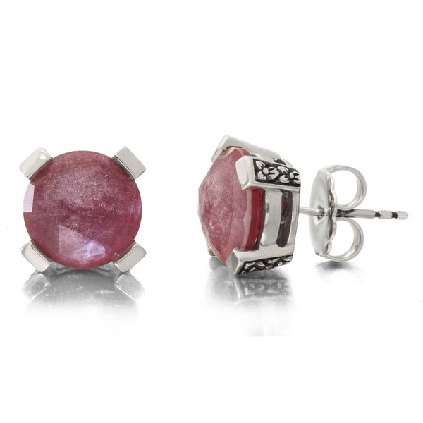 2-EAR-7198: Crystal Quartz, Mother of Pearl, and Red Quartz Stud Earring, 12 mm